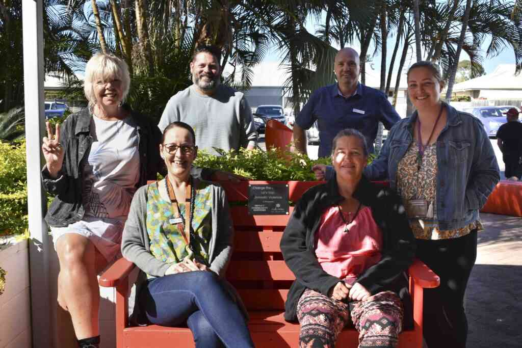 IMPACT Community Services' Intensive Family Support team supports the Red Rose Foundation's Red Bench Project